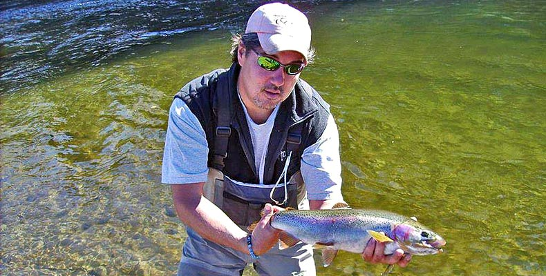 Lou with a nice rainbow trout on the Horsefly