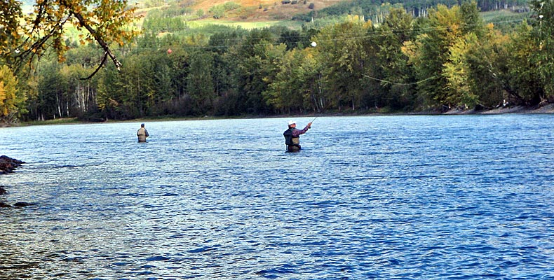 two people fly fishing on the bulkley