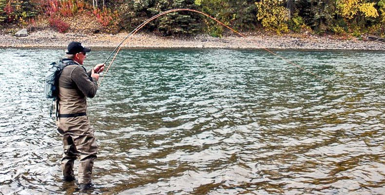 Wolfgang Fabisch fight a Steelhead with a fly rod on the Bulkley River