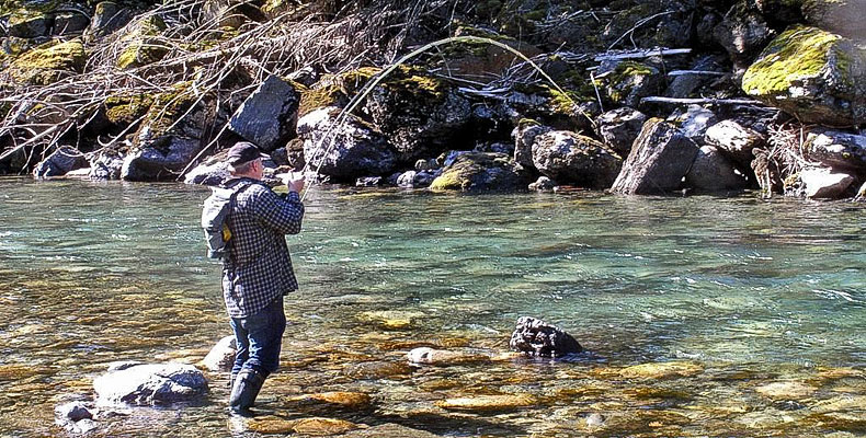 Steelhead fight, caught while fly fishing at the Coquihalla