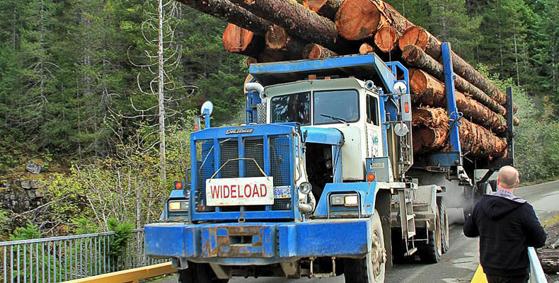 Logging truck in Gold River on Vancouver Island
