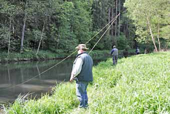 group of fly fishers during fly fishing