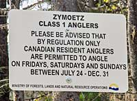 Note on first class section of water for steelhead fly fishing
