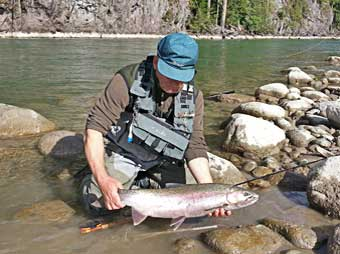 steelhead caught during fly fishing at the copper