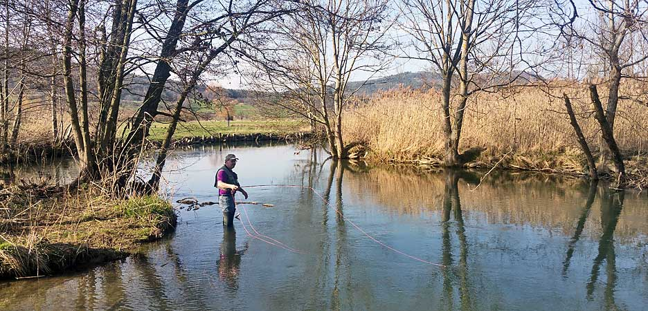 Fly fishing in the spring on the Wiesent has a special charm